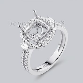 Beyond Jewelry 8X8mm Cushion Cut Engagement Ring Settings In 18K 0de0a4431