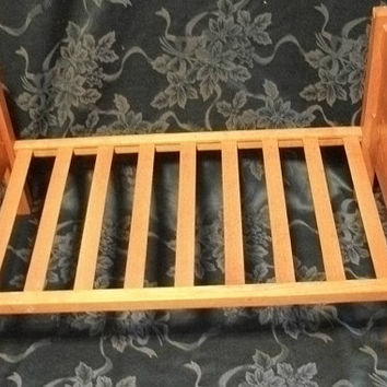 Antique 1940's Girl's Toys Doll Furniture Wooden Slat Bed Decals Mary's Little Lamb  Home Decor