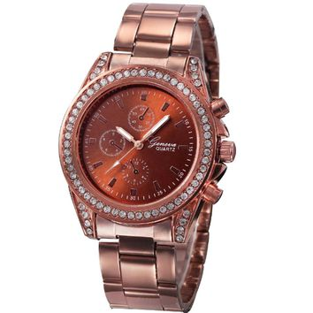 Women Diamond Metal Band Analog Quartz Fashion Wrist Watch