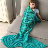 Creek Stripe Crochet Knitted Mermaid Blanket Throw For Kids