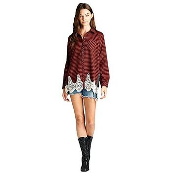 Oddi Women's Plaid Flannel Long Sleeved Shirt with Crochet Lace Trim and Contrast Back