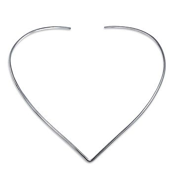 Slider Choker V Collar Necklace Flat Silver Sterling Add Your Pendant