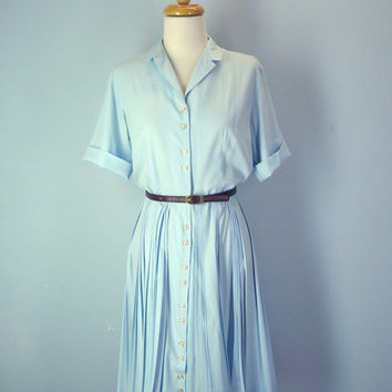 60s Dress / Light Blue 1960s Dress / Shirtdress / Shirt Dress Small