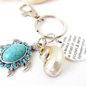 Shell and Sea Turtle Keychain