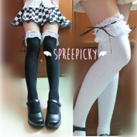 [3 For 2] [2 Colors Available]Cosplay/Lolita Lace with Ribbon Over Knees Stockings SP141532 from SpreePicky