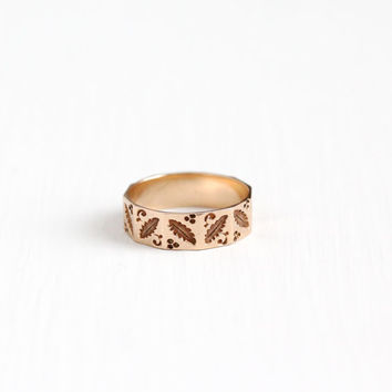 Antique Victorian 10k Rosy Yellow Gold Leaf Ring - Size 5 Vintage Late 1800s Cigar Style Fine Wedding Band Stacking Nature Flower Jewelry