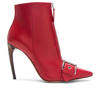 Alexander McQueen Zip Front Leather Booties in Crimson & Silver | FWRD