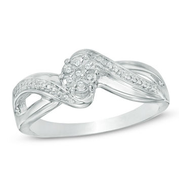 Diamond Accent Cluster Bypass Promise Ring in Sterling Silver|Zales