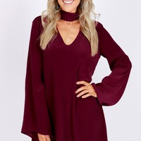 Keyhole Choker Dress Windsor Wine