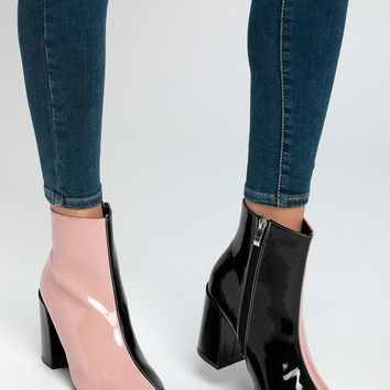 Briana Blush and Black Patent Color Block Ankle Booties