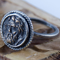 Ancient Coin Ring - Zeus II , Father, Sky God - Sterling Silver band