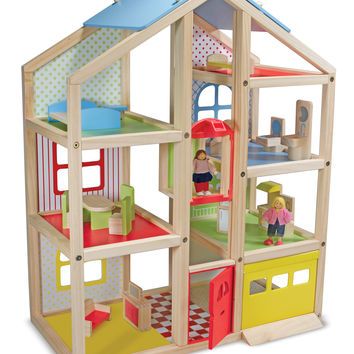 Melissa & Doug Hi-Rise Wooden Dollhouse & Furniture Set