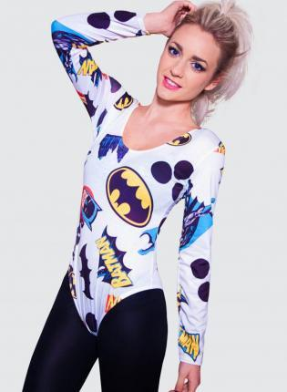 White Long Sleeve Bodysuit with All Over Batman Comic Print