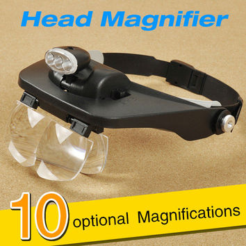 1.5X/1.8X/2.5X/3.5X Hands free Helmet Magnifier Double Lens Magnifying Glass with 3 LED Lights for Jewelry Watch Repairing