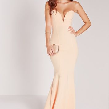 Missguided - Scuba Bandeau Fishtail Maxi Dress Nude