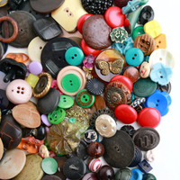 Vintage Colorful Button Lot - Over 150 Lucite, Bakelite, Glass, Metal, Crafting Findings / Sewing Variety Destash