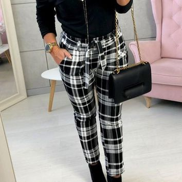New Black Plaid Sashes High Waisted Casual Long Pants