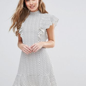 Closet London Ruffle Dress In Polka Dot at asos.com