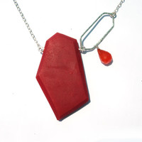 Bold geometric necklace, modern red pendant, genuine carnelian necklace, orange gemstone necklace, sterling silver pendant, red pendant
