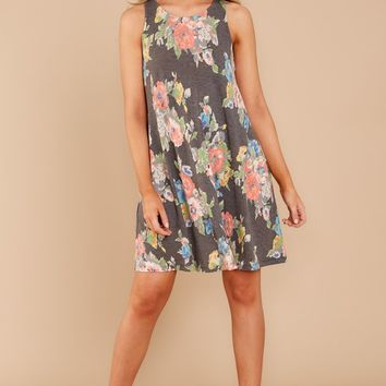 In Bloom With You Grey Floral Print Dress