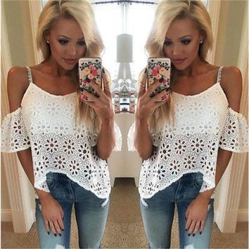 2016 New Fashion Sexy Women Casual Boho Lace Off Shoulder Shirt Summer Crop Tank Tops Blouse New