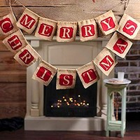 Hessian Burlap Merry Christmas Bunting Sign Rustic Wedding Party Banner christmas decorations for home