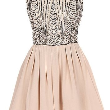 Almond Sparkler Dress | Beige Taupe Chiffon A-Line Dresses | Rickety Rack
