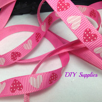 5 yards 3/8 grosgrain ribbon pink hearts - scrapbooking - Wholesale ribbon - hair bow supplies - diy supplies
