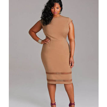 'Attractions' Plus-Size Midi Bodycon Dress