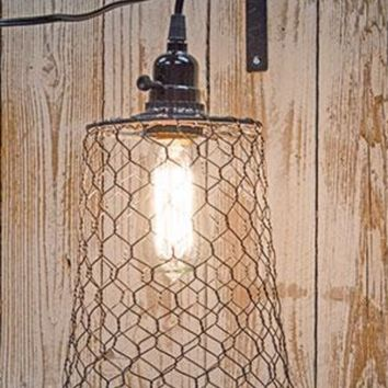 Farmhouse Style Chicken Wire Pendant Lamp with Light Fixture CW/G11745