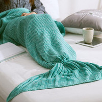 <Big Promotion>Knitted Sofa Bedding Mermaid Blanket with Tail for Womens Warm + Christmas Gift