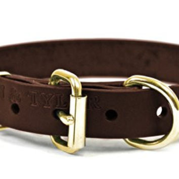 "Dean and Tyler ""B and B"", Basic Leather Dog Collar With Solid Brass Hardware - Brown - Size 16-Inch by 3/4-Inch - Fits Neck 14-Inch to 18-Inch"