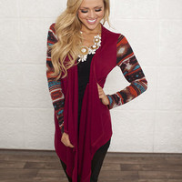 Aztec Winter Cardigan Burgundy