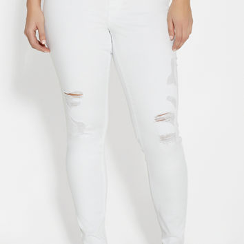 DenimFlex™ plus size jegging with destruction in white | maurices