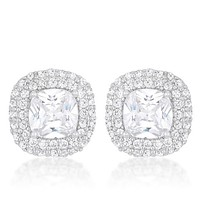 Burke Cushion Double Halo Statement Stud Earrings