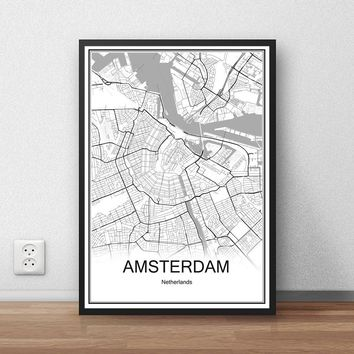 AMSTERDAM Netherlands City Map Vintage Poster Abstract Coated Paper Print Picture Bar Cafe Pub Living Room Wall Painting 42x30cm