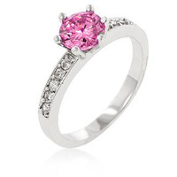 Petite Pink Engagement Ring, size : 10