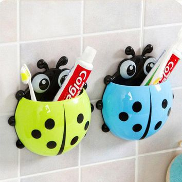 DCCKL72 Cute Ladybug Cartoon Sucker Toothbrush Holder Suction Hooks / Household Items / Toothbrush Rack / Bathroom Set #69824