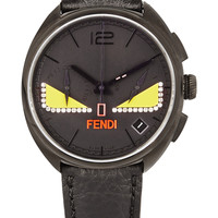 Fendi - Momento Bugs diamond-embellished leather and stainless steel watch