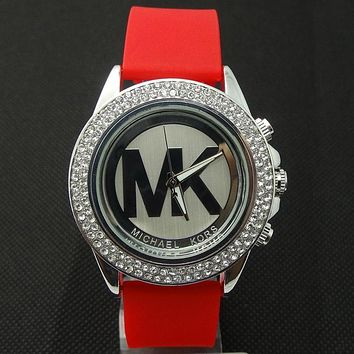 MK Michael Kors men and women new stylish fashion candy strap F-SBHY-WSL Red Watchband + Silver Dila + Silver Case