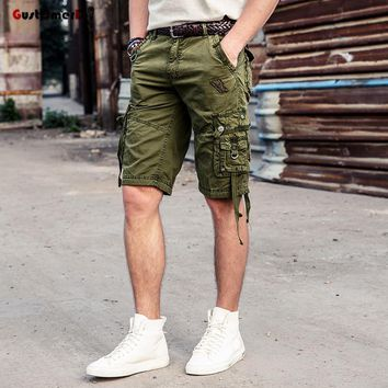 GustOmerD New Summer Casual Shorts Men Cotton Multi-pocket Tactical Cargo Shorts Men Beach Short Pants Quality Brand Clothing