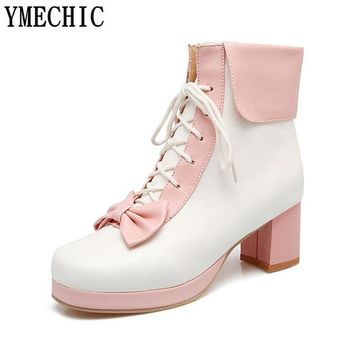 YMECHIC Ladies Pink Purple Black Lolita Bowtie Ankle Boots Women Lace Up Med High Heel Short Lacing Boot Lovely Cute Girl Shoes