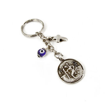 Saint Christopher Keychain, Mary and Jesus Keychain, Glass Eye Charm, Cross Charm