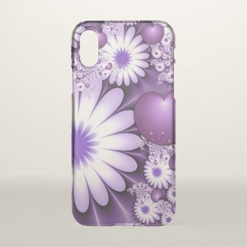 Falling in Love Abstract Flowers & Hearts Fractal iPhone X Case