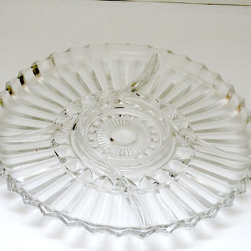 vintage glass serving tray Hors d'oeuvre appetizer platter tid bit dish glass serving plate antique retro clear glass serving platter