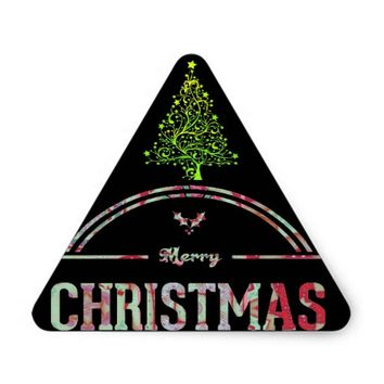 Merry Christmas Greeting Triangle Sticker
