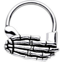 16 Gauge Stainless Steel Spooky Skeleton Hand Septum Clicker | Body Candy Body Jewelry