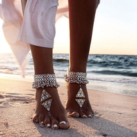 Vintage Multilayer Chain Tassel Barefoot Beach Sandle