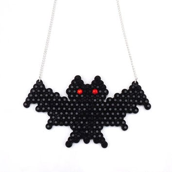 Creepy Vampire Bat Halloween Necklace - Black with Red Eyes or Your Custom Crystal Colours - Sparkly Psychobilly Gothic Pendant