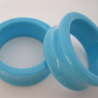 "Light Blue Double Flare Tunnels (1 & 1/8"" - 2 inch)"